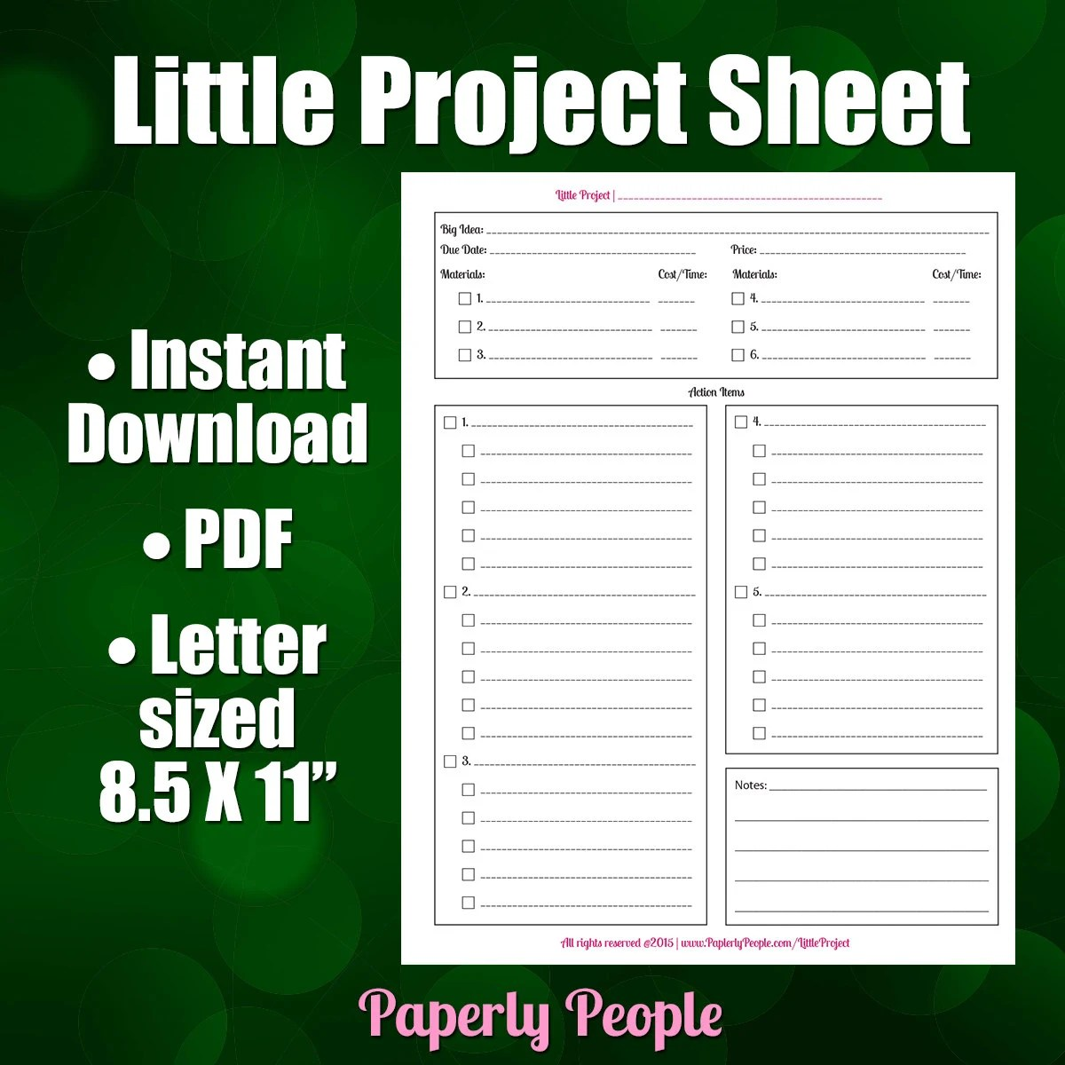 Little Project Worksheet Productivity Form For By