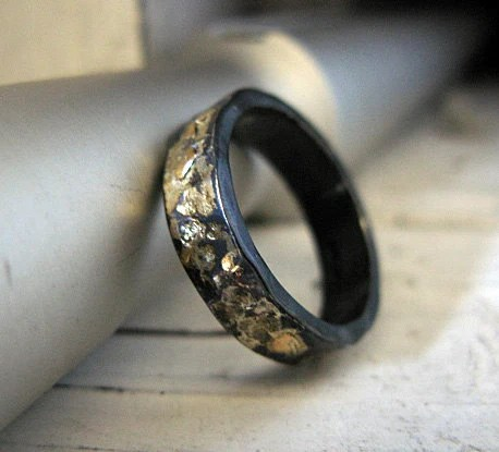 Rustic Mens Wedding Band Mens Wedding Ring 875 Black Gold