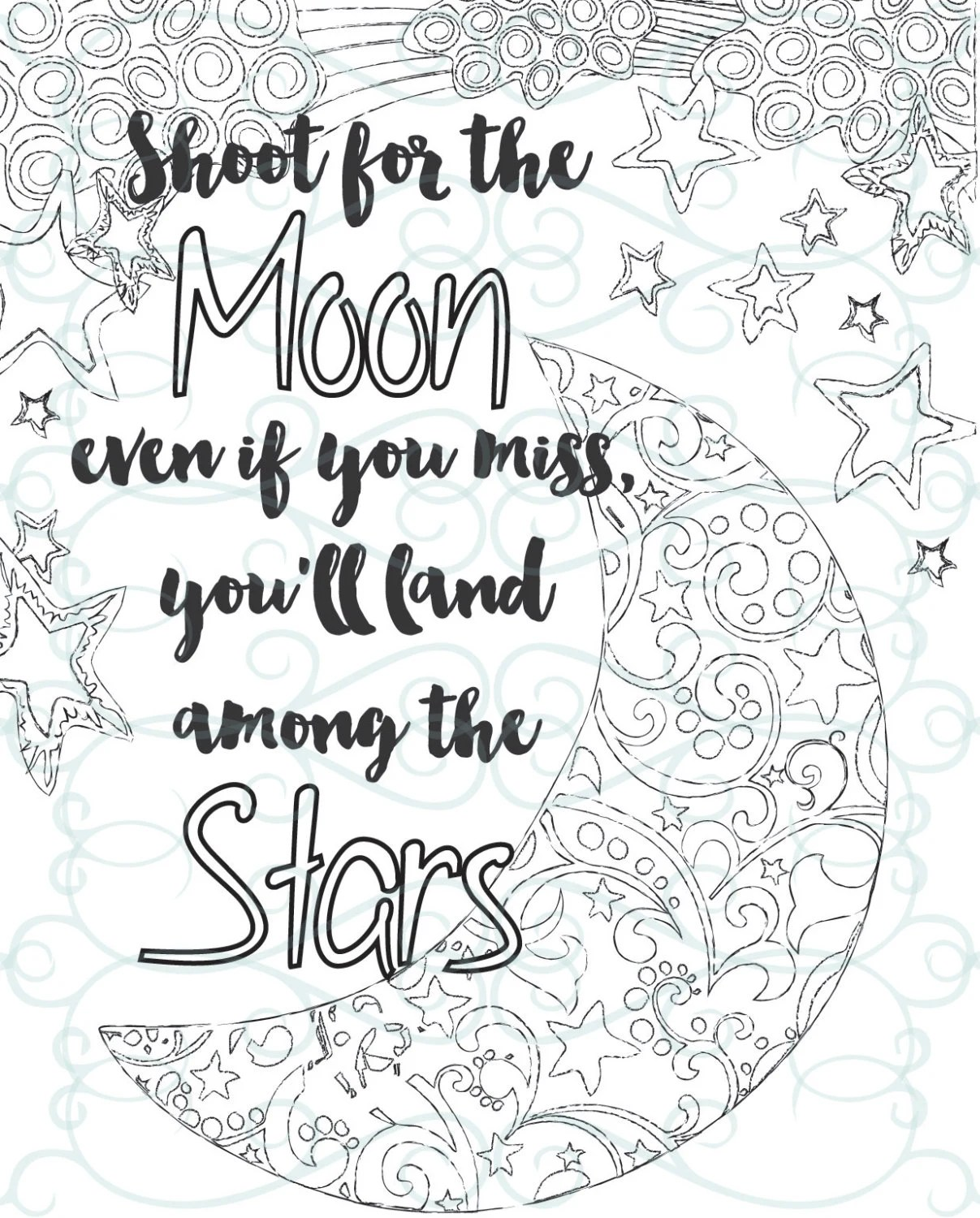 Adult Inspirational Coloring Page printable 04-Shoot for the | printable coloring pages for adults quotes