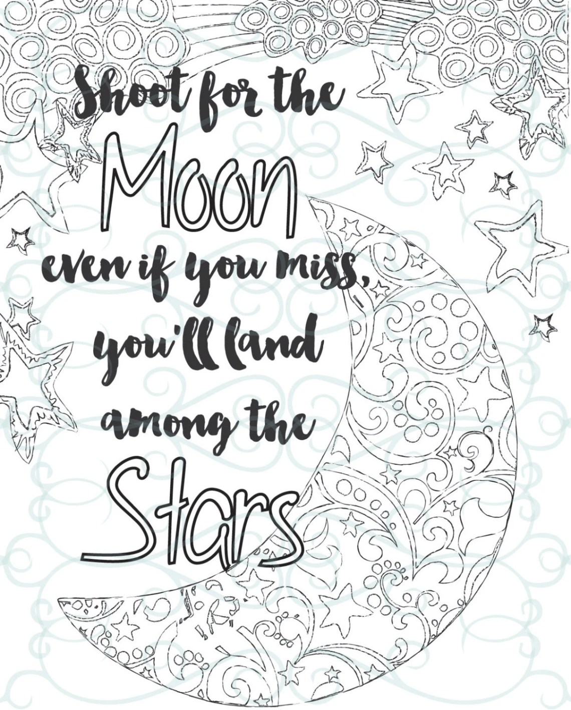 Adult Inspirational Coloring Page printable 04-Shoot for the   free printable coloring pages inspirational quotes