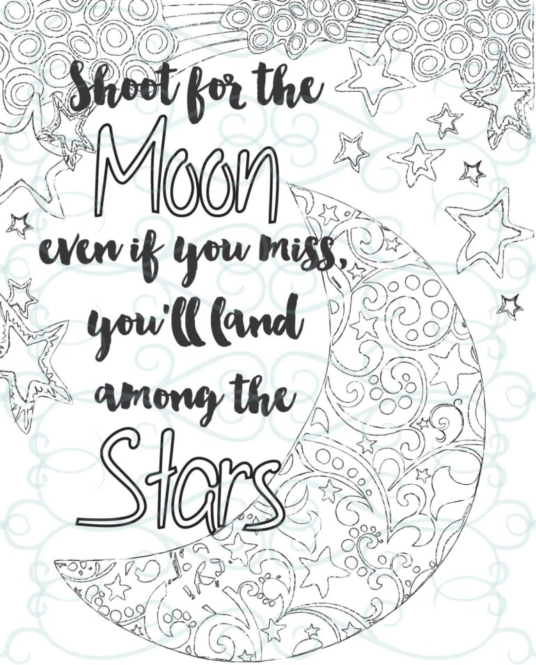 Adult Inspirational Coloring Page printable 04-Shoot for the | free printable inspirational coloring pages for adults