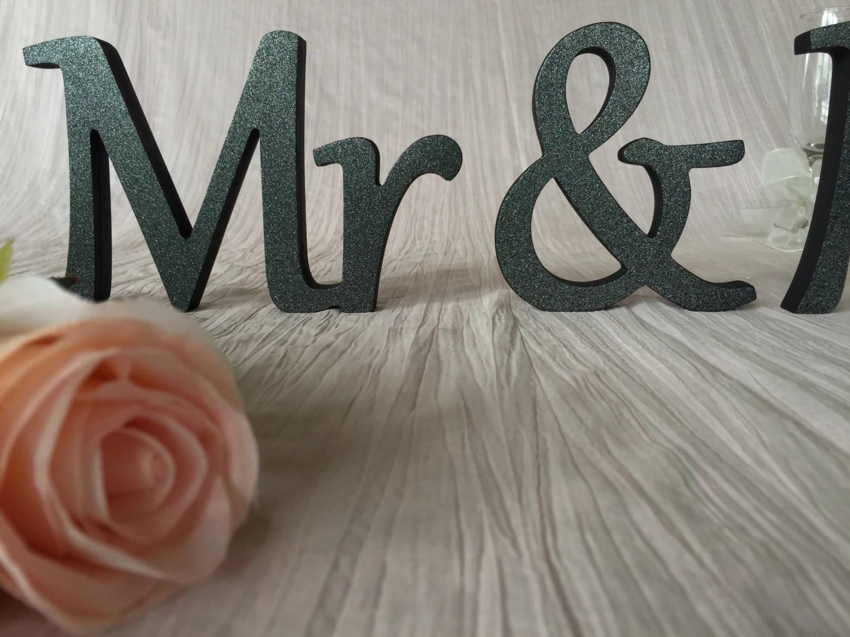 Wooden Letters Mr. Mrs. BLACK Glitter Wedding Table Signs Mrs