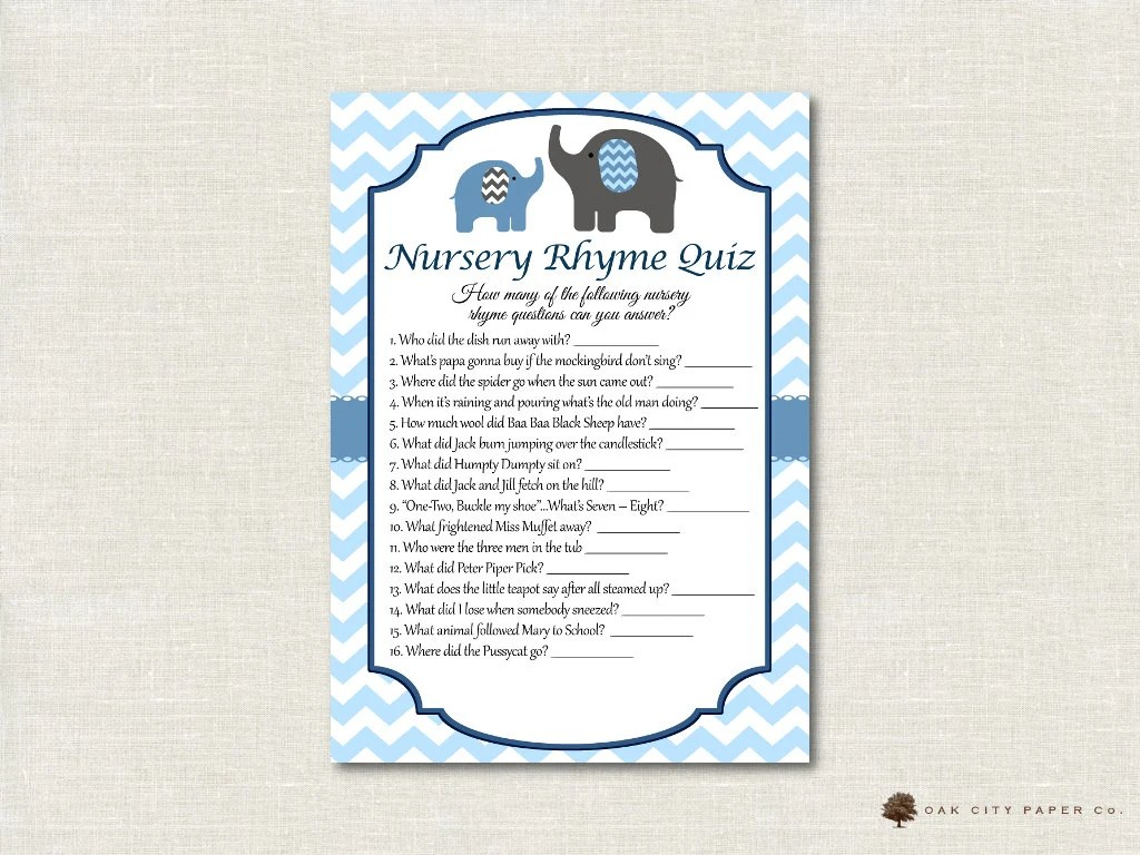 Elephant Nursery Rhyme Quiz Baby Shower Game Baby Blue