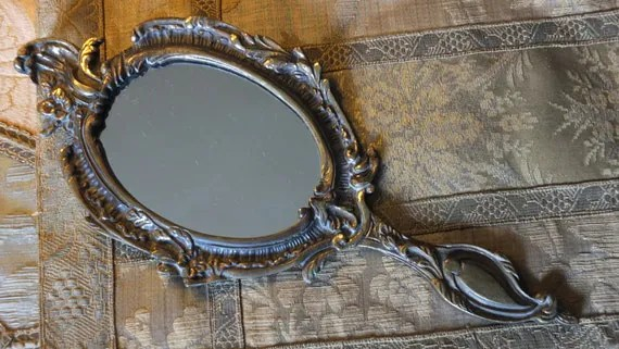 Vintage Brass Molded Hand Mirror Frame Antique Classical