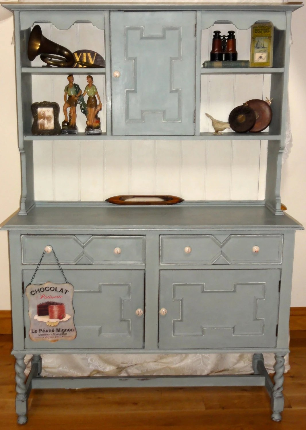 Vintage painted dresser cupboard sideboard shabby chic for Sideboard shabby