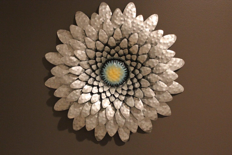 Large Metal Flower Hammered Metal Flower Wall Art Indoor