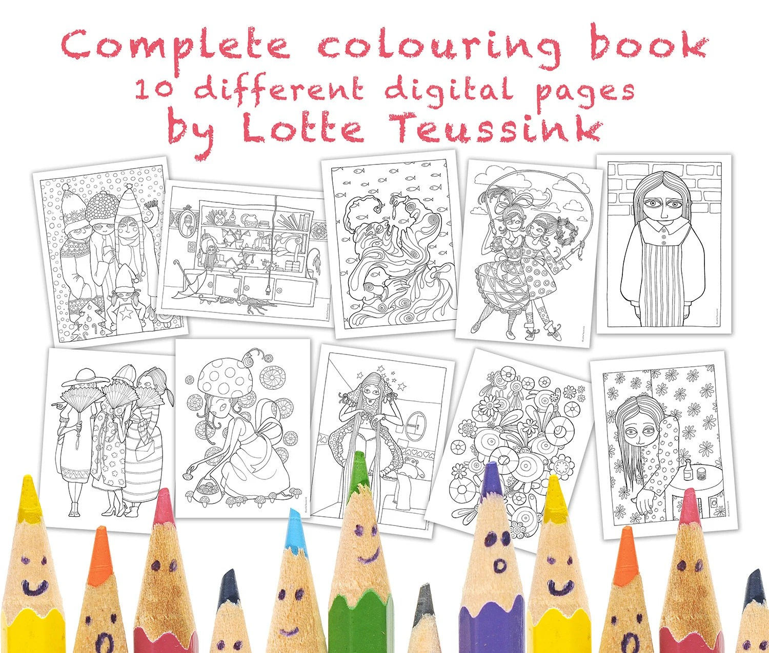 Complete Adult & Kids Colouring Book, 10 Different