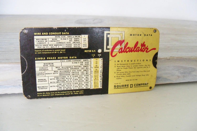 Square D Motor Data Calculator