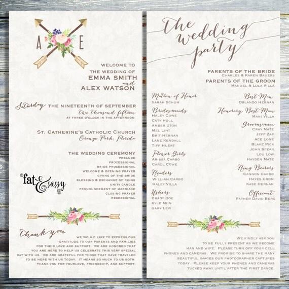 Wedding Program Custom Wedding Program Printable Order Of