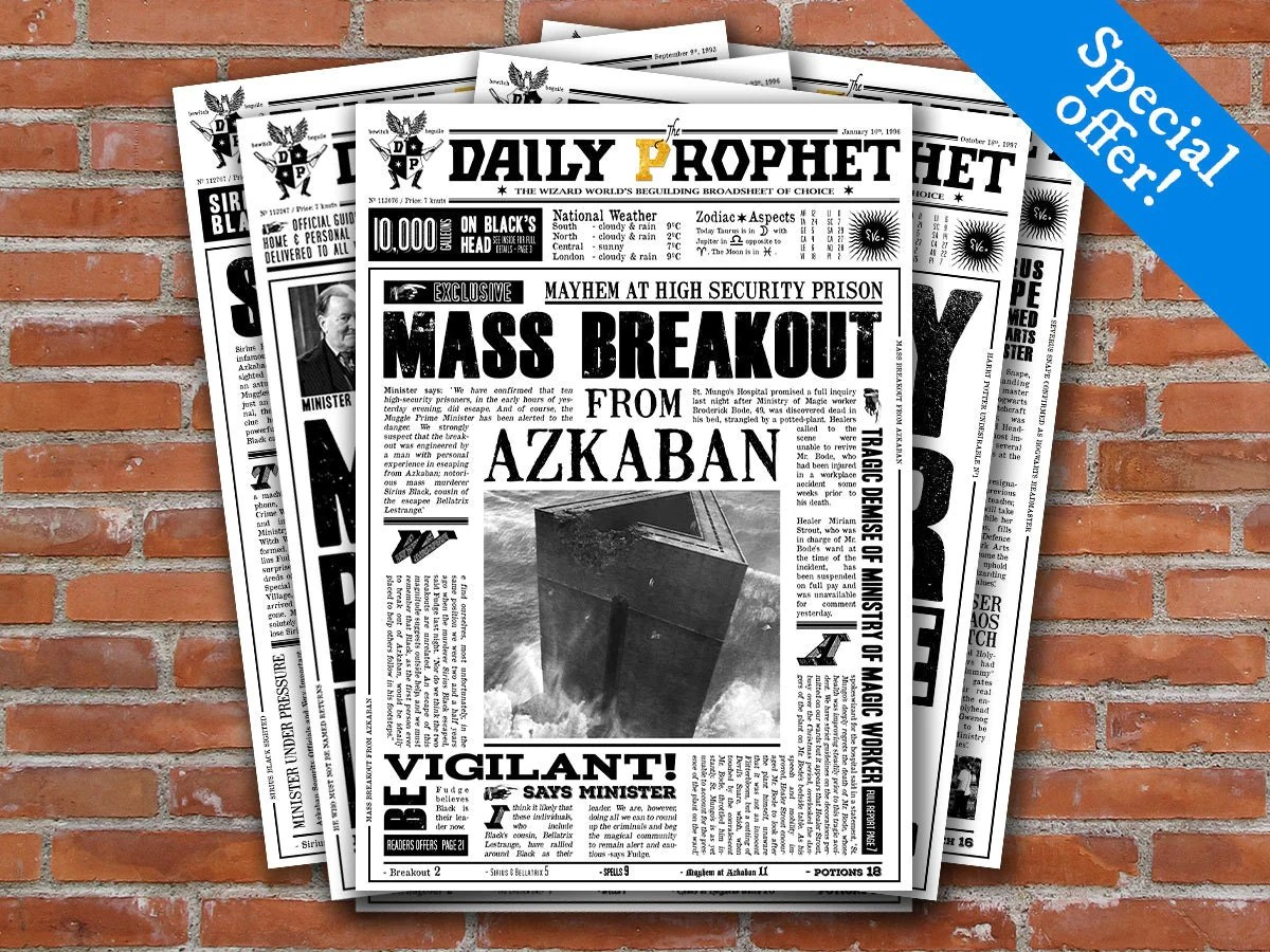 Printable Daily Prophet Covers Harry Potter Newspaper Fourth