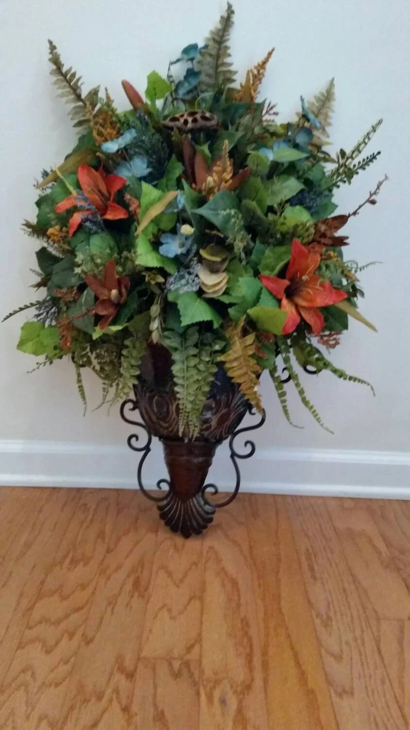 Elegant Traditional Wall Sconce Fall Year Round Coral Blue on Wall Sconce Floral Arrangements Arrangement id=85859