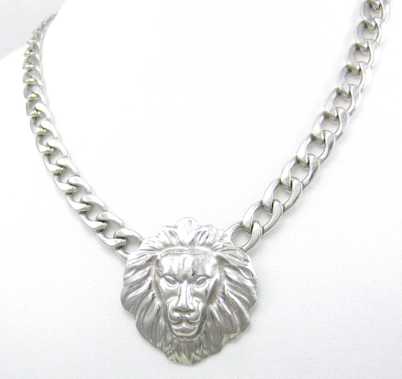 Silver Tone Choker Necklace Lions Head Lionhead Doorknocker