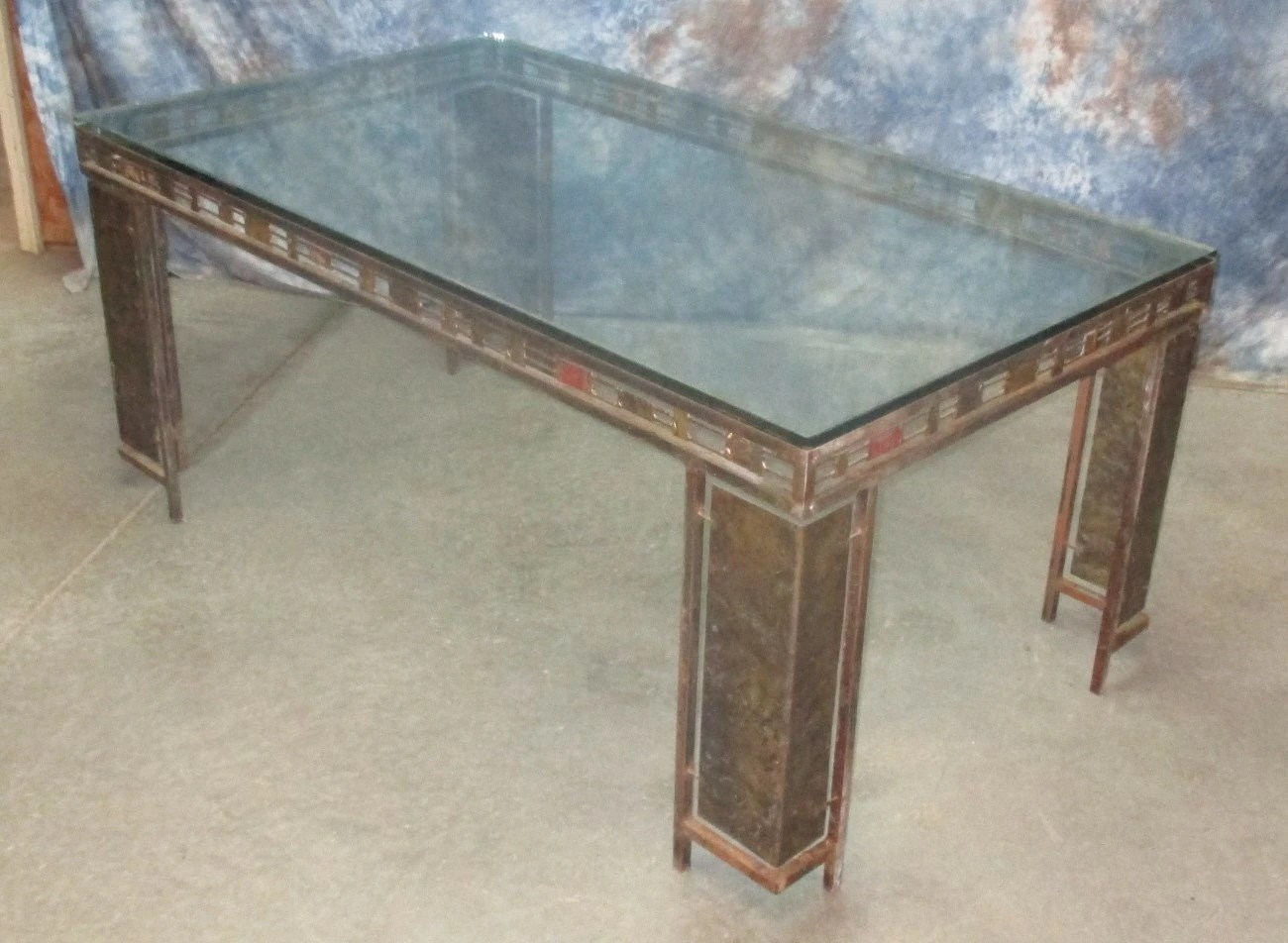 38 X 68 Glass Top Table Dining Room Kitchen Mid Century Danish Modern Retro Haute Juice