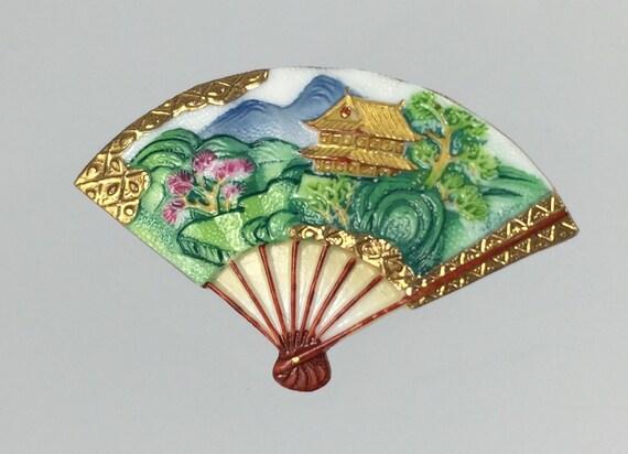 Toshikane Fan Brooch Vintage 1950s Japan Arita Porcelain