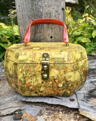 Vintage box purse - vintage Anton Pieck box purse - Billie Ross box purse - Wood decoupage purse