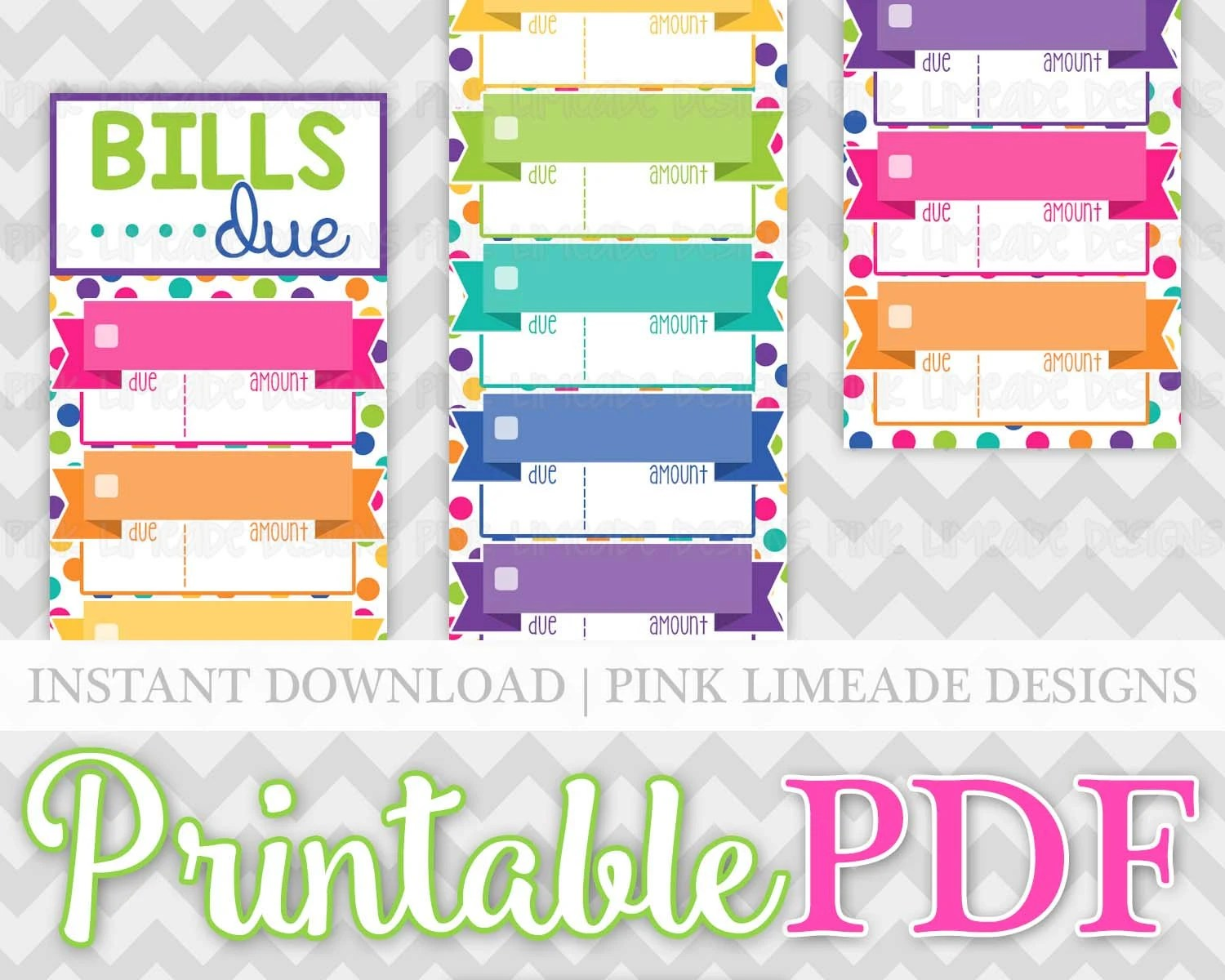 Colorful Monthly Bills Due Labels Bill Tracker Budget