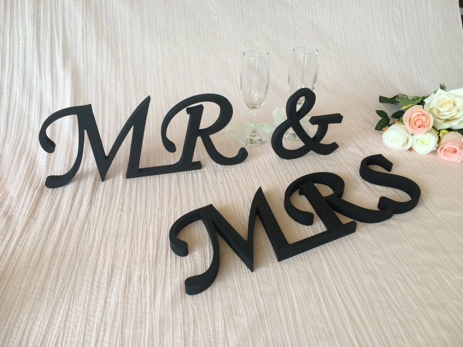 Wedding Table Decoration MR And MRS Wooden Letters Wedding