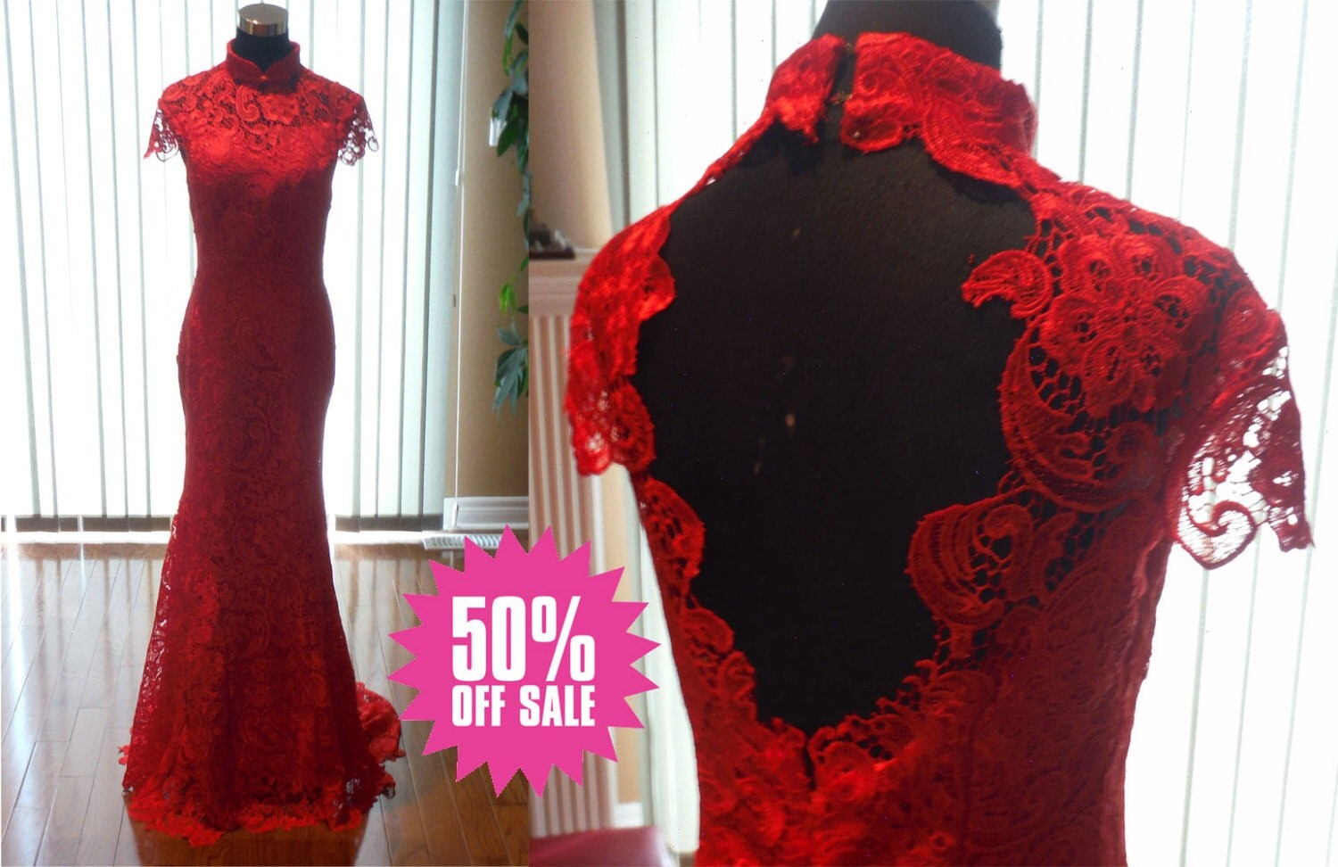 Red Wedding Dress Red Lace Cheongsam Red Lace Wedding