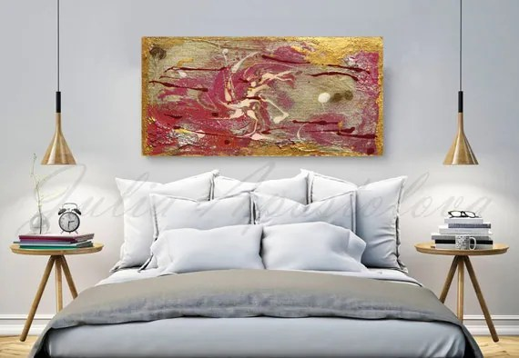 Items Similar To Gold Painting, Pink Abstract Art, Copper