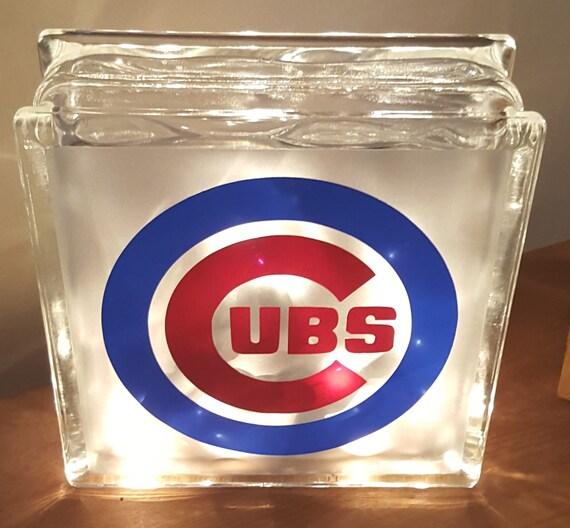 Glass Block Light Chicago Cubs Glass Block Bar Lights