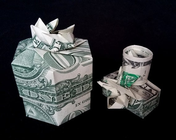 Money Origami GIFT BOX With Lid For Camera Made Out Of Two