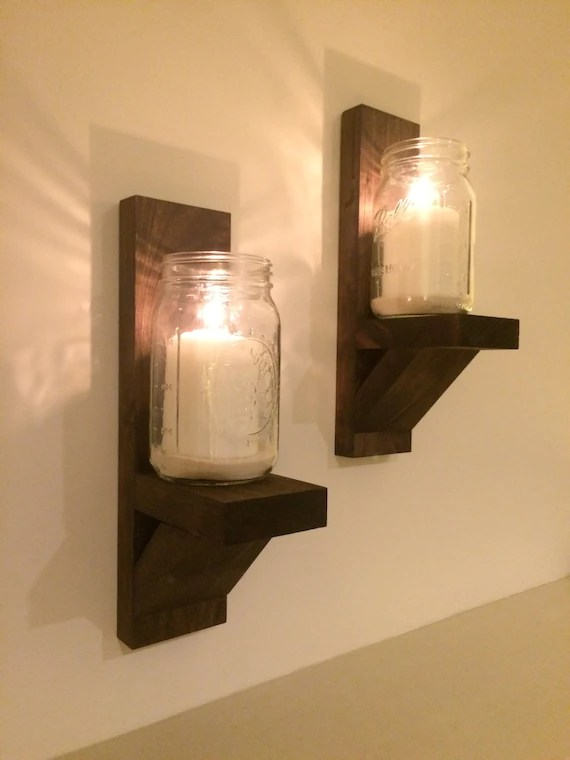 Wall Mounted Candle Holders Pair in Espresso by LongWoodCrafts on Wall Mounted Candle Sconce id=61165