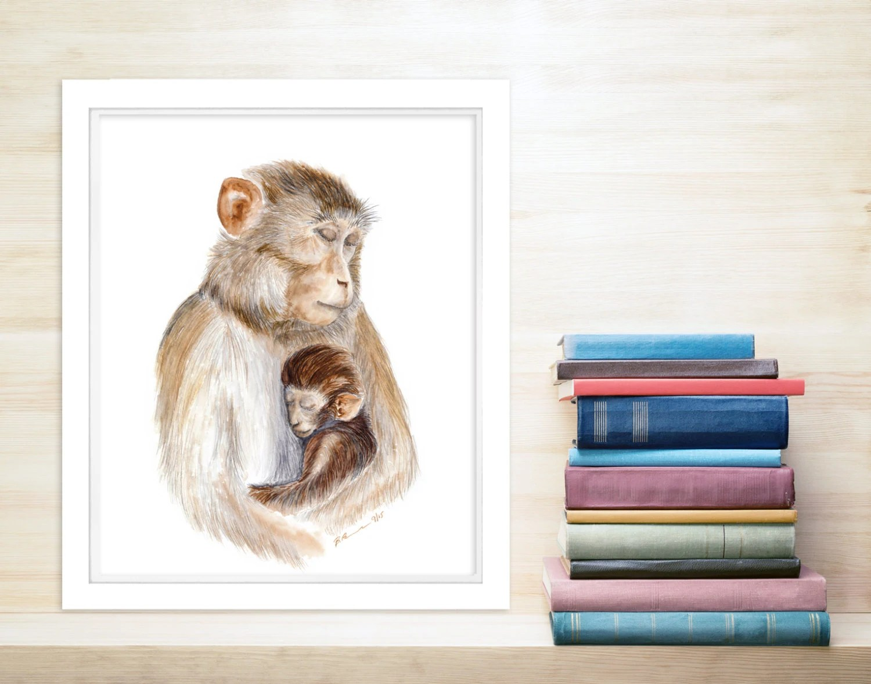 Jungle Nursery Art Mom And Baby Animal Print Monkey T