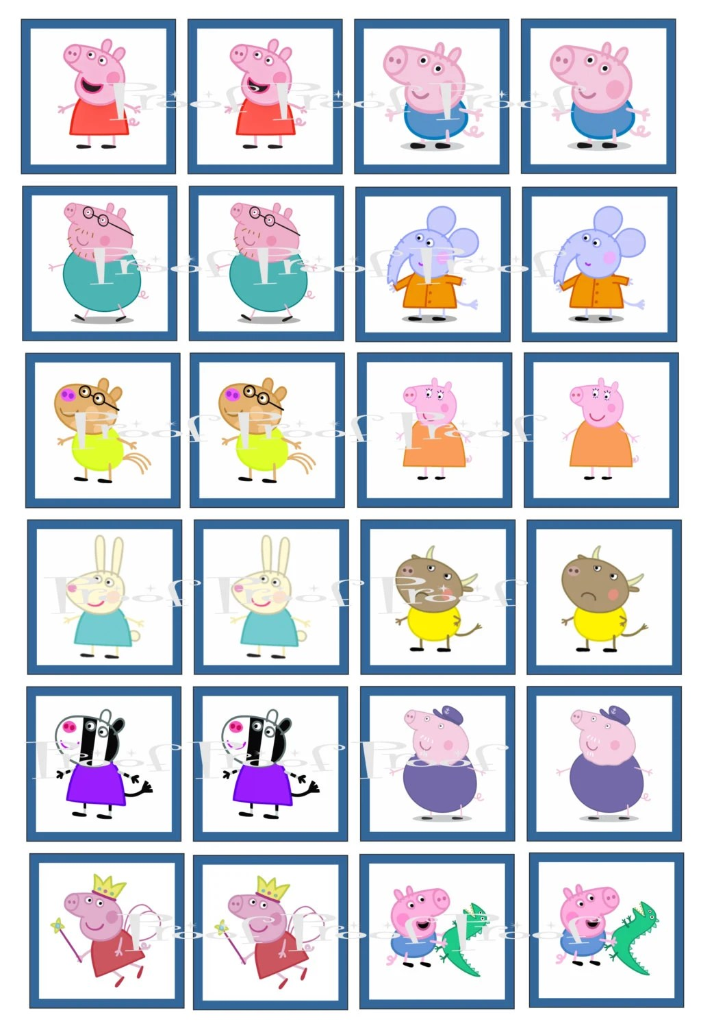 Peppa Pig Digital Memory Game Birthday Party Cupcake Topper