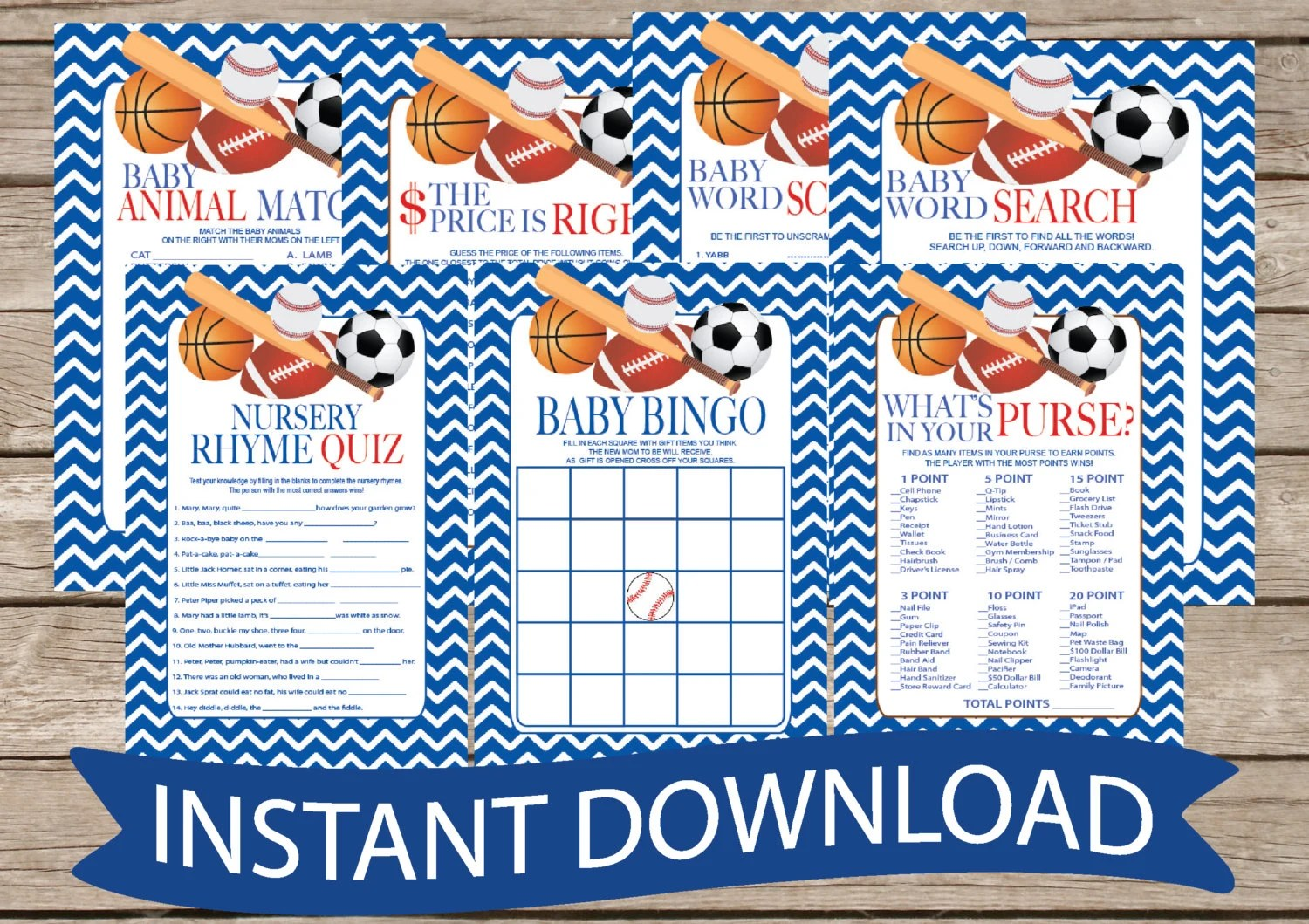 All Star Baby Shower Game Pack Instant Download 7 Shower Games