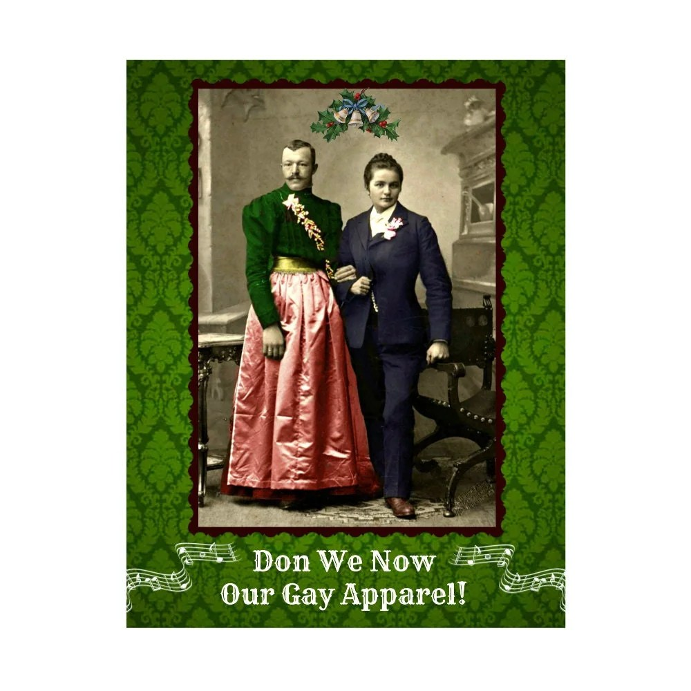 Funny Christmas Card Don We Now Our Gay Apparel