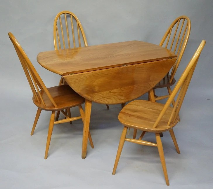 Vintage Ercol Elm Demilune Drop Leaf Dining Table And