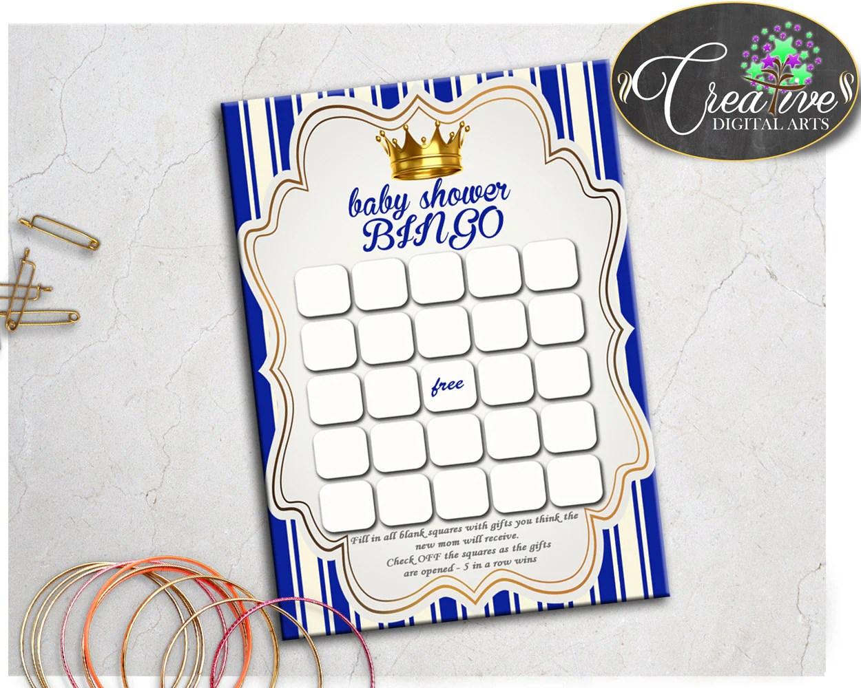 Little Prince Baby Shower Printable Bingo T Blank Cards