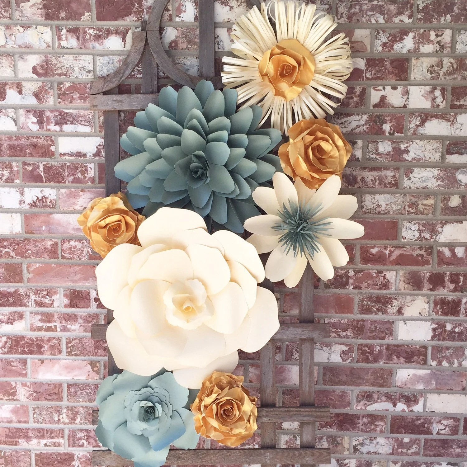 Large Paper Flower Wall Decor for Weddings Bridal Showers on Hanging Wall Sconces For Flowers id=82350