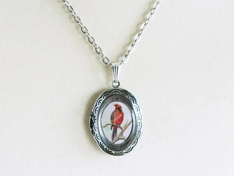 Cardinal Pendant Necklace Antique