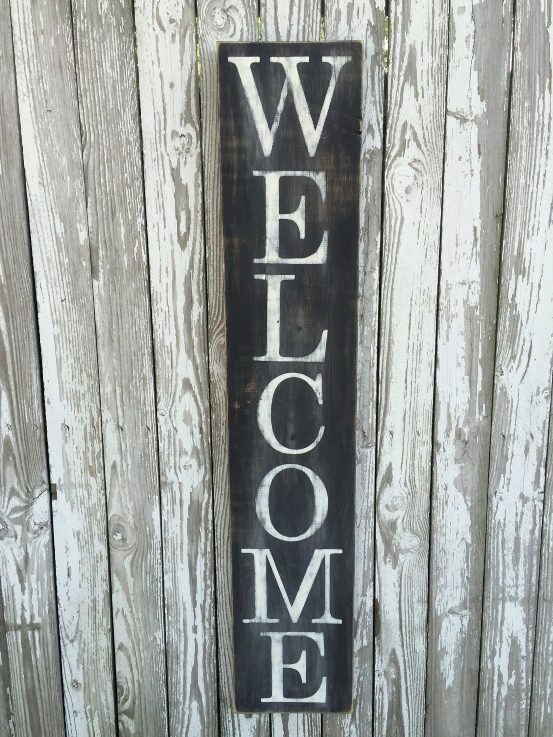Vertical Welcome Sign Entryway Sign Color Options Wood
