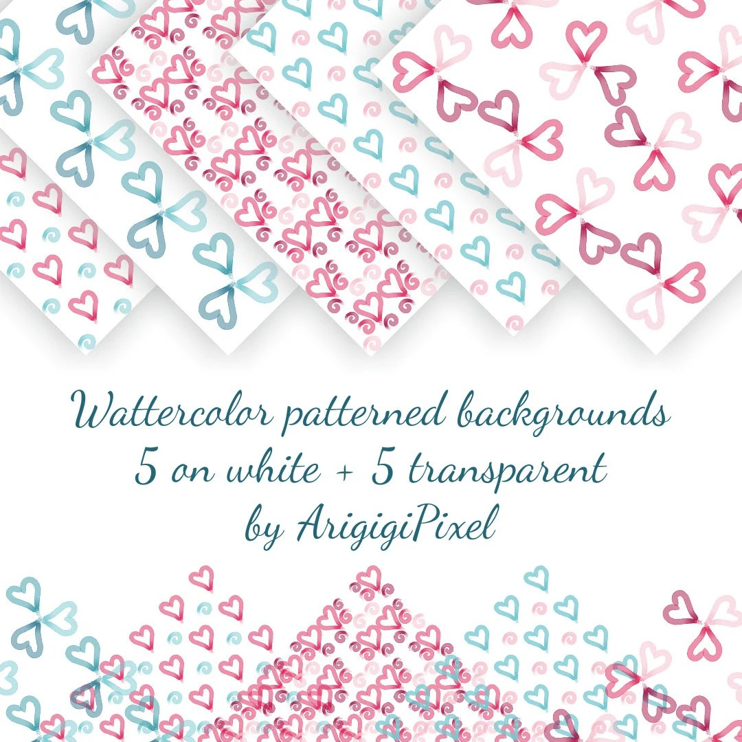 Digital Watercolor Seamless Valentine Background Pink Hearts