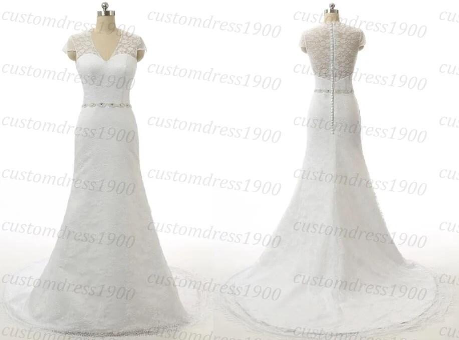 White Elegant Cap Sleeve Wedding Dress Handmade Lace Tulle