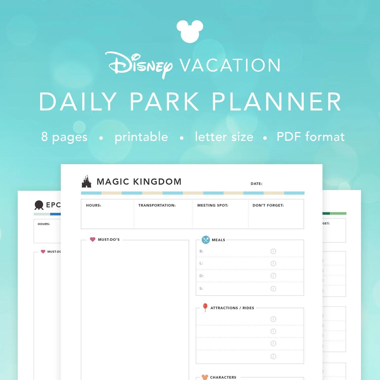 Disney World Daily Parks Planner Disney Agenda Itinerary