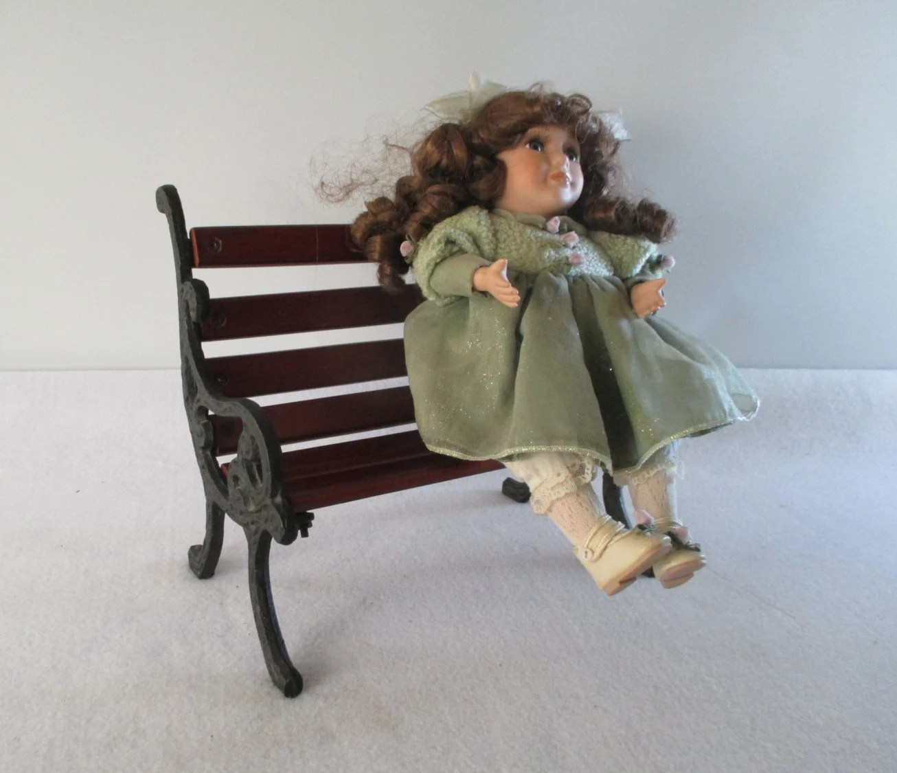 Park Bench Miniature Vintage Wood And Cast Iron Doll