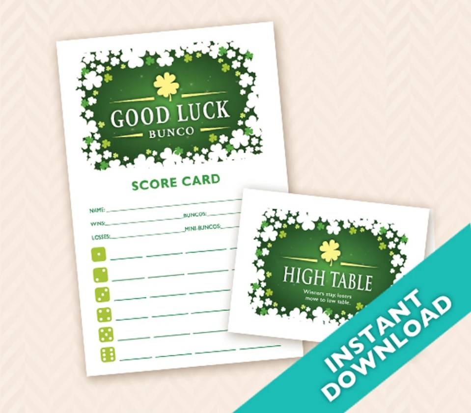 Printable Shamrock Bunco ...