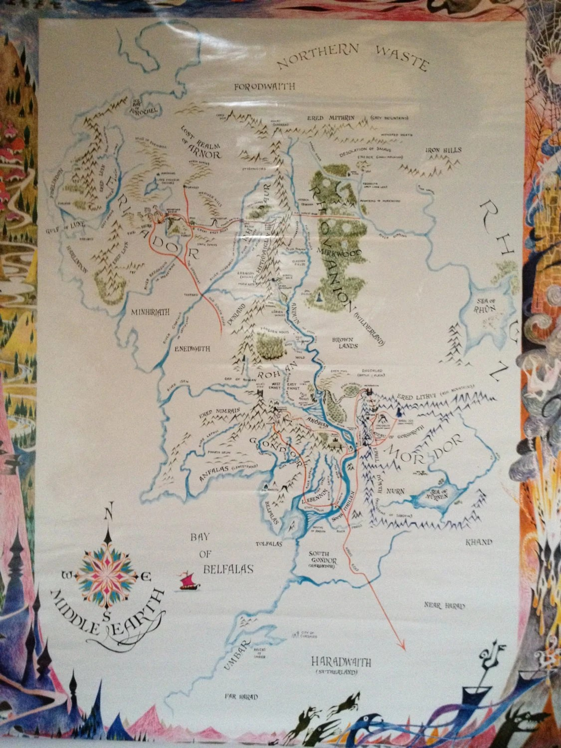 Middle Earth Map Tolken The Hobbit Lord Of The Rings By