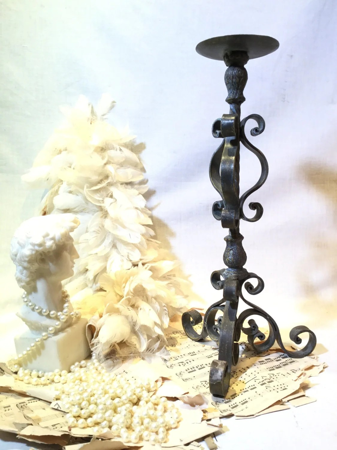 Vintage Wrought Iron Candle Holder / Candlestick Gothic Style on Antique Wrought Iron Wall Candle Holders id=15784