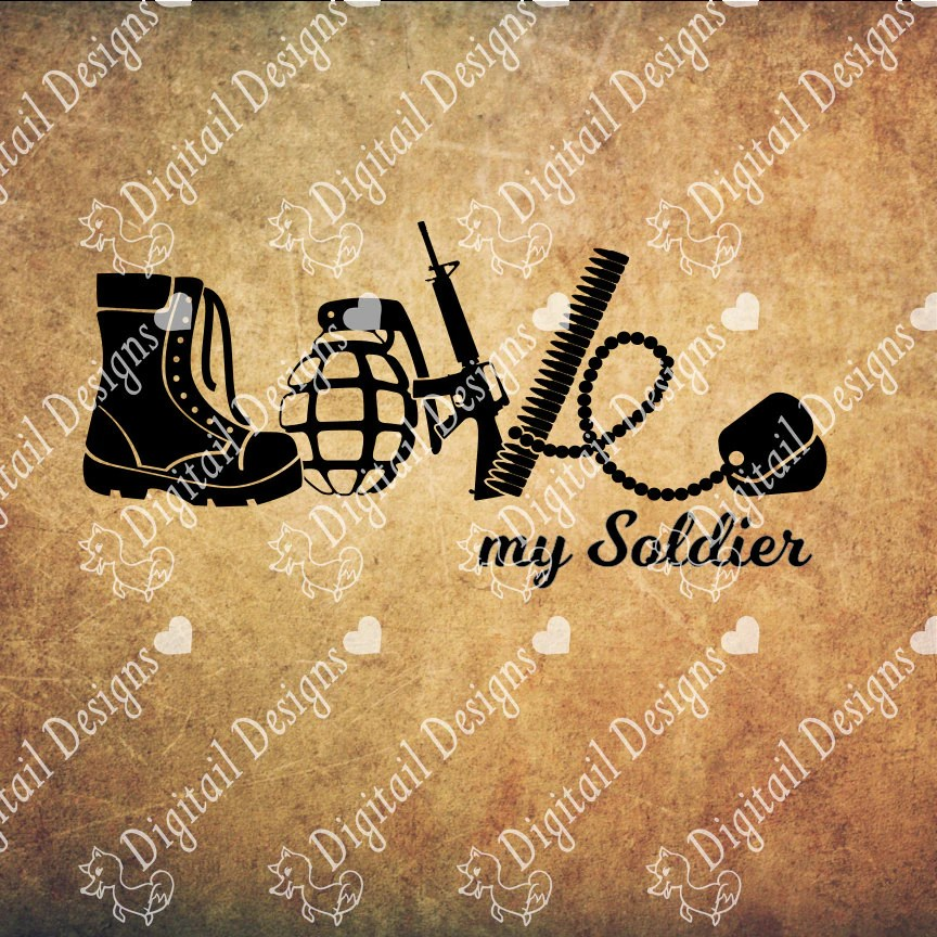 Download Love Army SVG PNG DXF Eps Fcm Ai Cut File for Silhouette