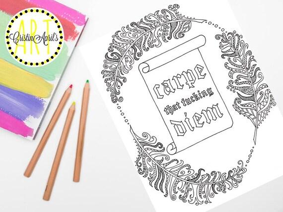 Printable Adult Coloring Book Page Carpe Diem Instant