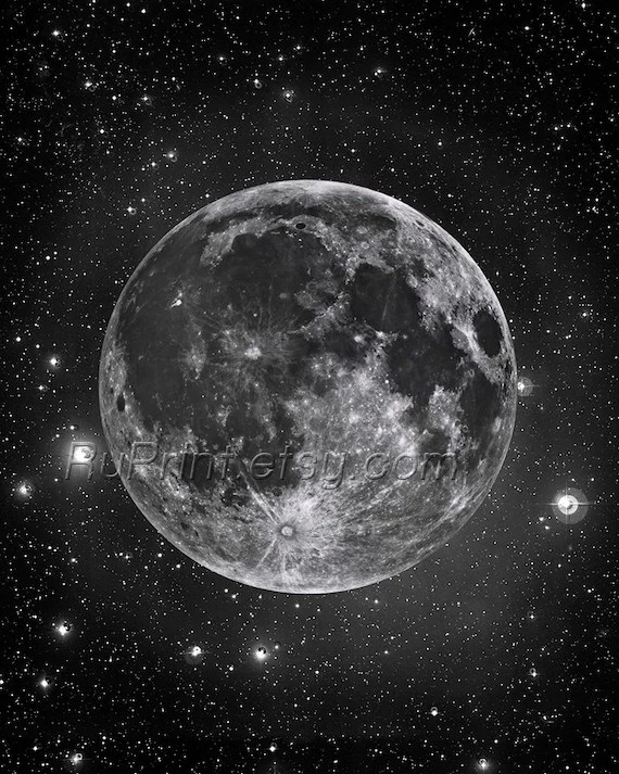 Moon and stars Full moon art print Astronomy poster Black