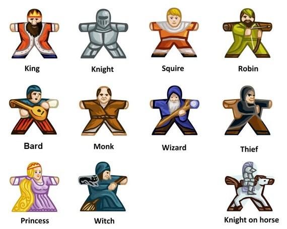10 Labels for Meeples (Medieval/Fantasy)