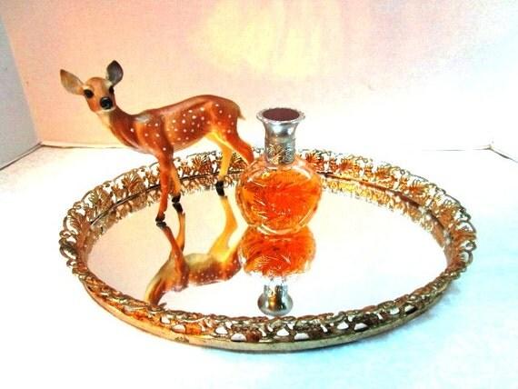 Vintage Mirrored Vanity Tray Oval Florentine W/ Metal Edge