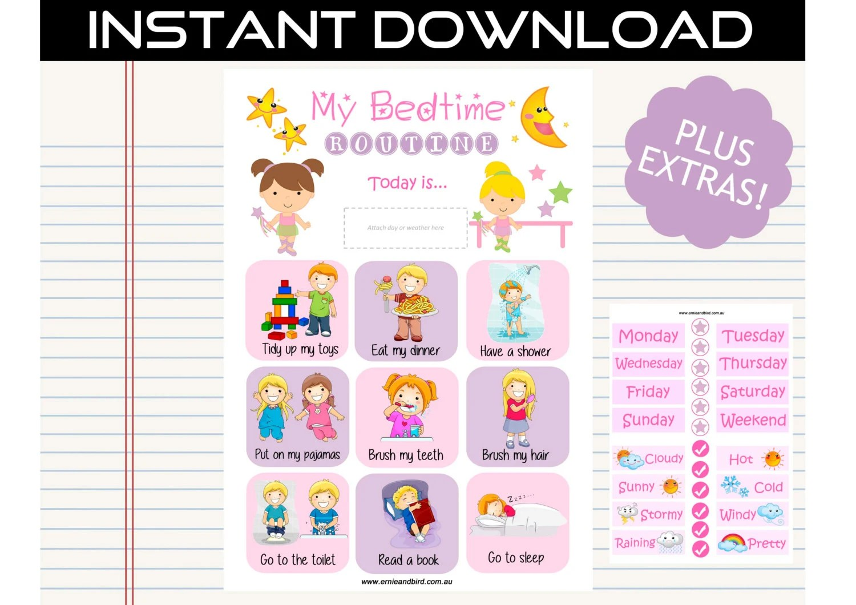 Printable Bedtime Routine Chart Digital Download Ballet