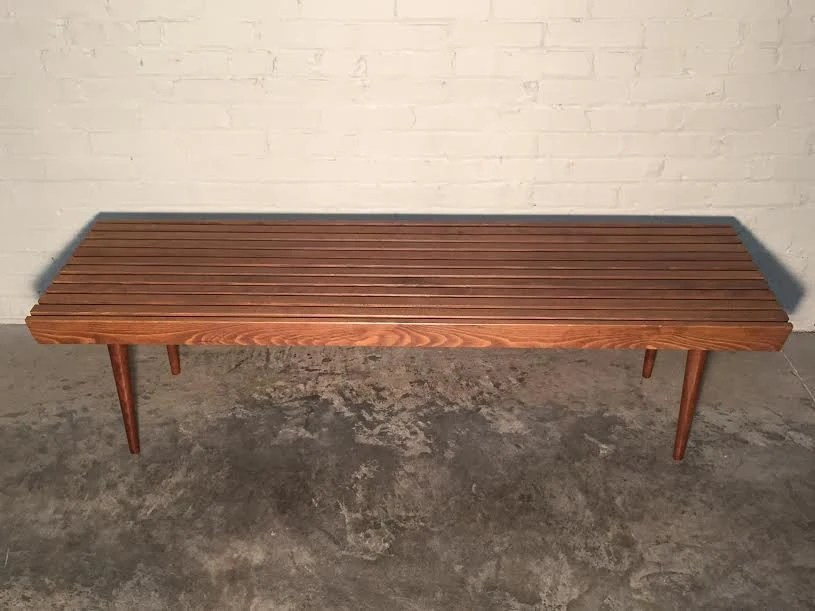 Mid century modern slat bench coffee table 60 style for 60s style coffee table