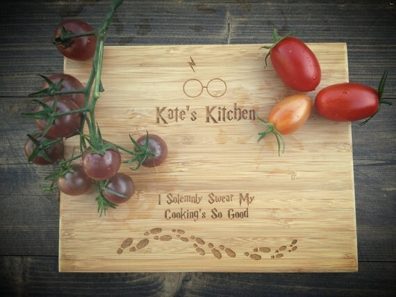 Customized Harry Potter Cutting Board - 30+ Harry Potter Gift Ideas for the Harry Potter Lover in your life. This gift guide includes clothing, home decor, food and anything else Harry Potter!